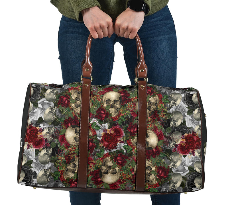 Skulls and Roses on Silver Travel Bag