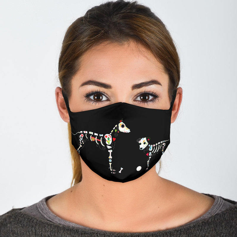 Day of the Dead Dogs Face Masks - Chili Pattern or Black