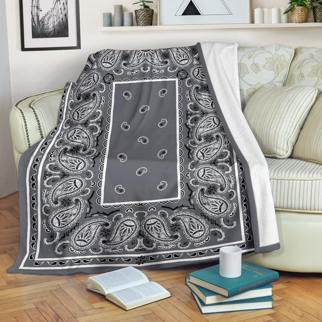 Gray Bandana Throw Blanket