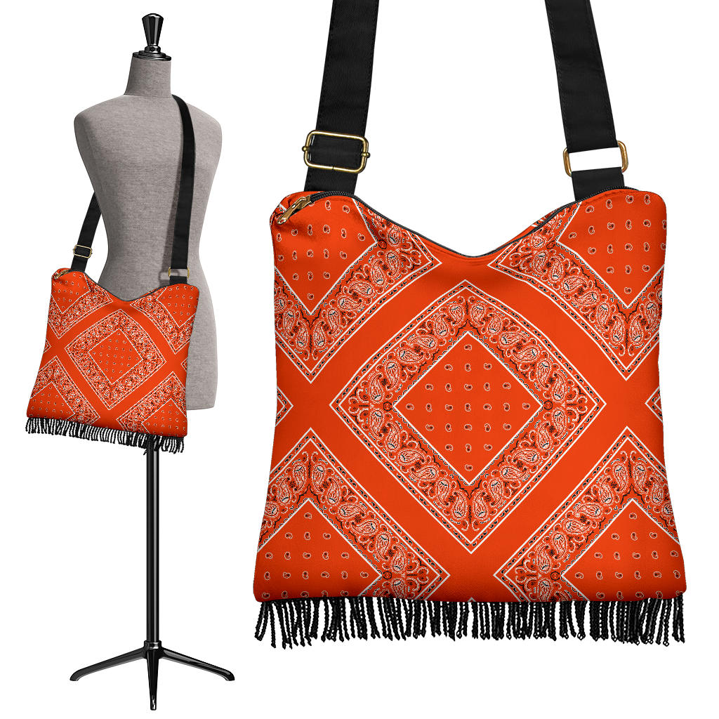 orange crossbody bag with fringe