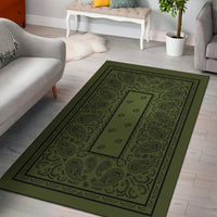 Army Green and Black Bandana Area Rugs - Fitted