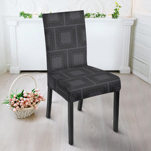 Gray and Black Bandana Dining Chair Covers