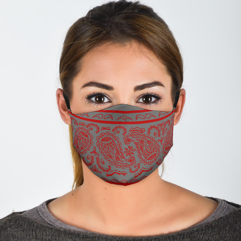 Edge Gray and Red Bandana Face Mask