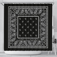 Black Bandana Shower Curtain