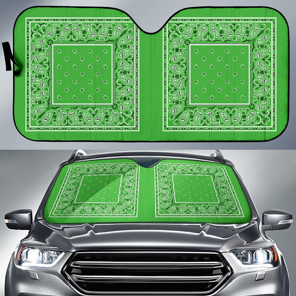 lime green bandannas auto window shade