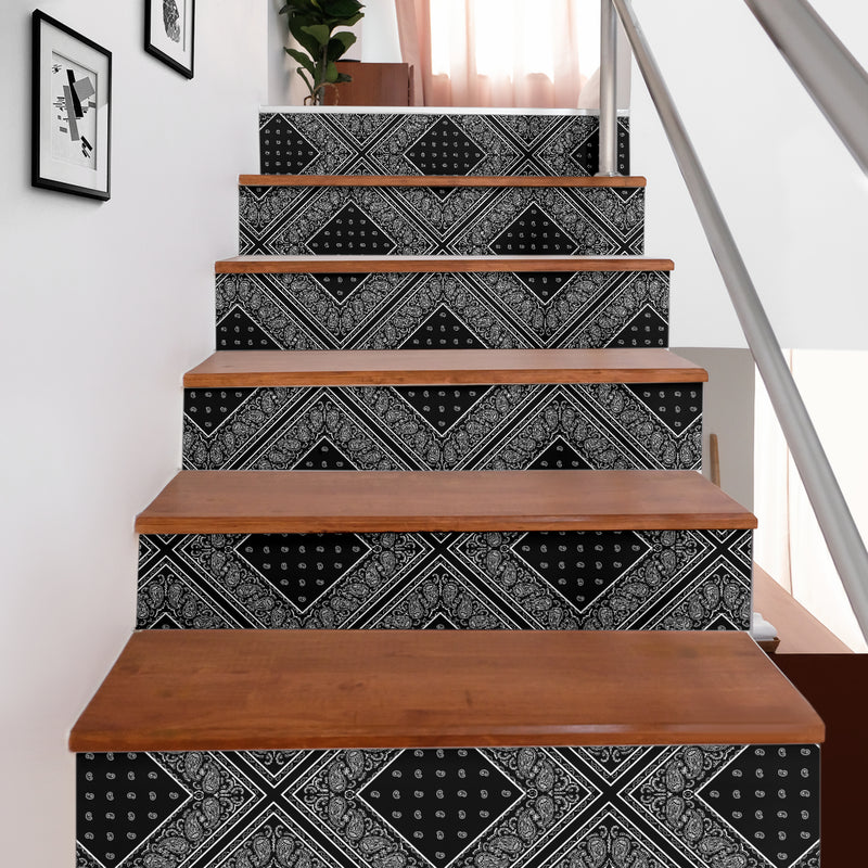 black bandana decorative stair stickers
