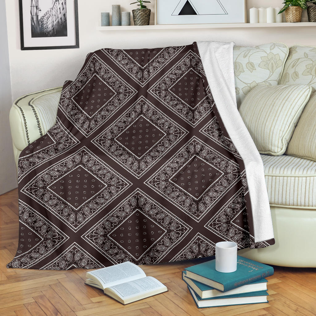 Coffee Brown Bandana Diamond Throw Blanket