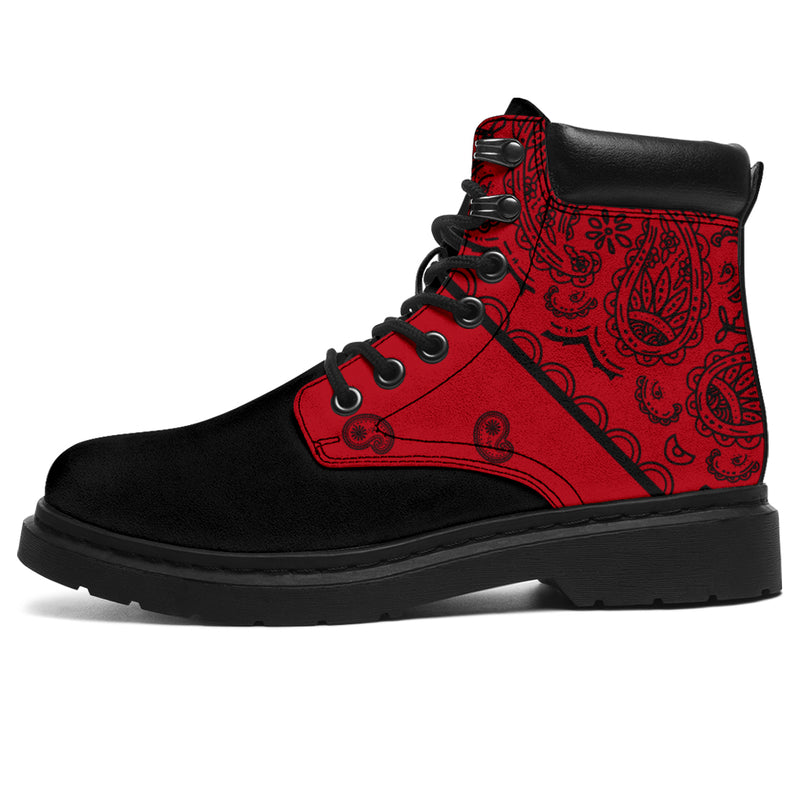 red and black hiking boots for men