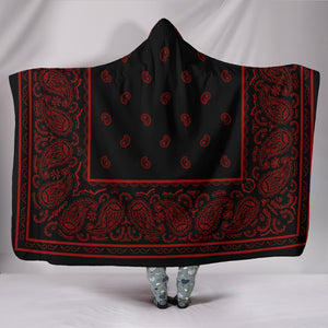 red and black bandana hooded blanket