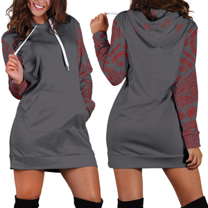 Front and back Gray and Red Bandana Hoodie Dress
