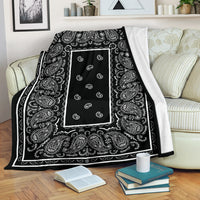 Black Bandana Throw Blanket