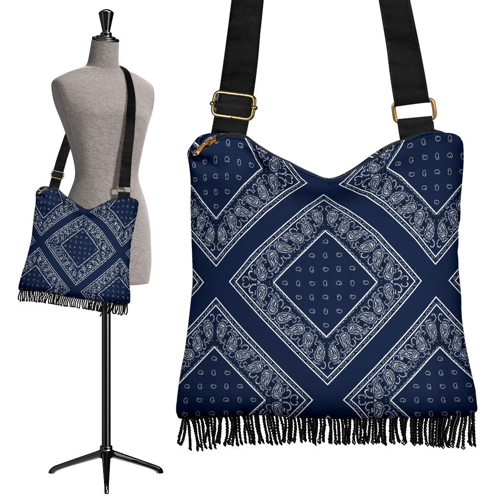 Navy Blue Bandana Bohemian Bag