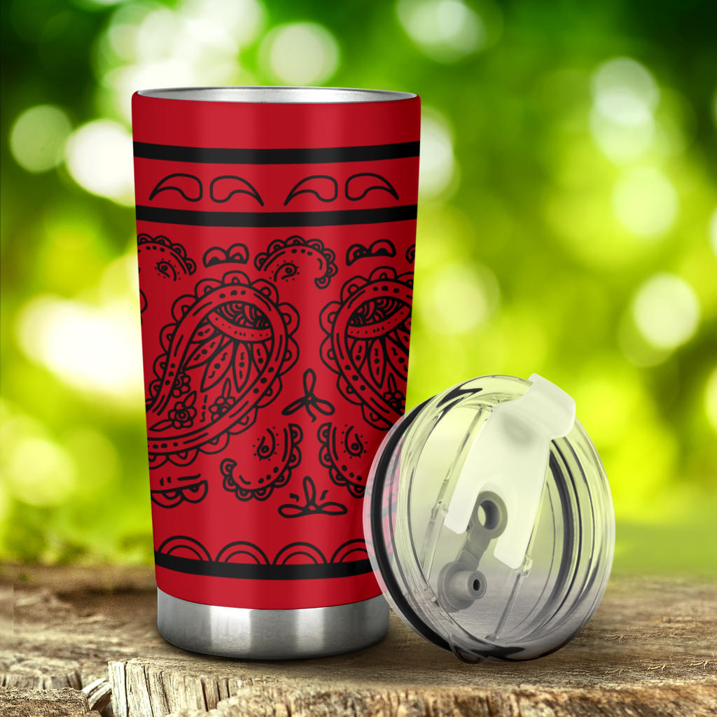 red and black bandana car cup