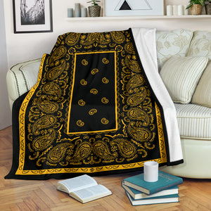 Black Gold Bandana Throw Blanket