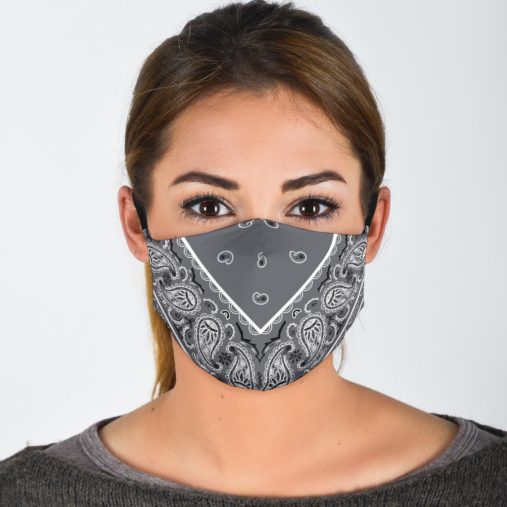 Adjustable Classic Gray Bandana Face Mask with 5 Layer Filters