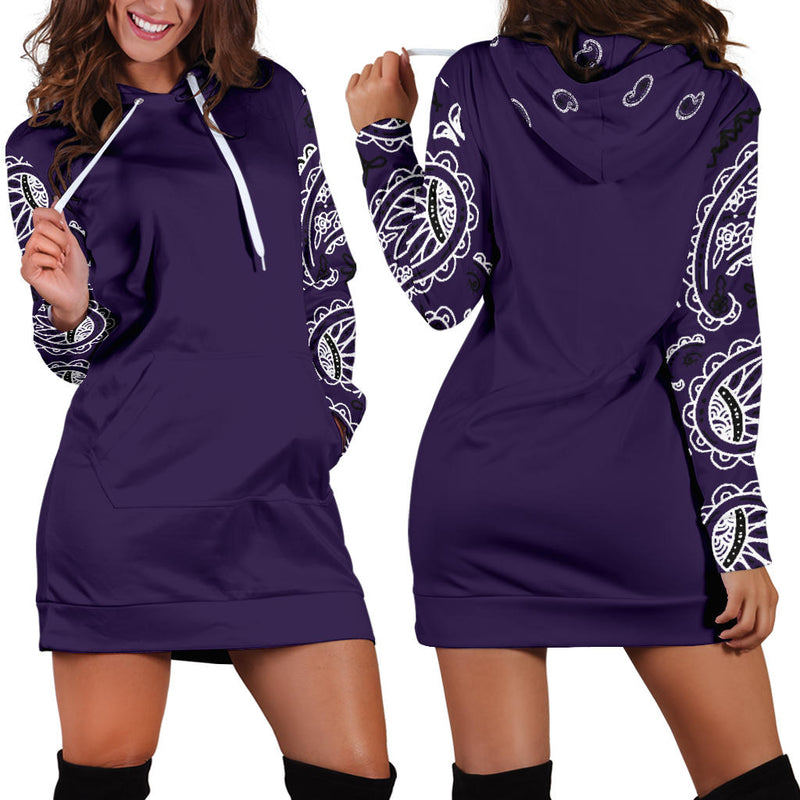Front and Back Royal Purple Bandana Hoodie Dress