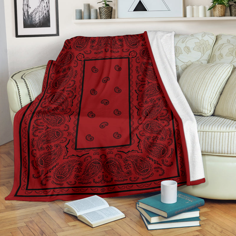 Red with Black Bandana Throw Blanket