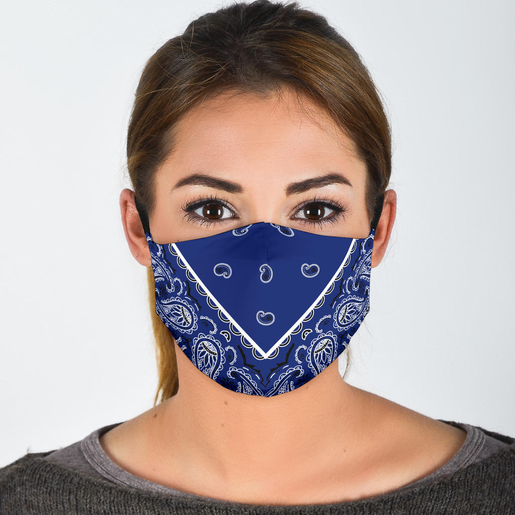 blue bandana covid virus mask