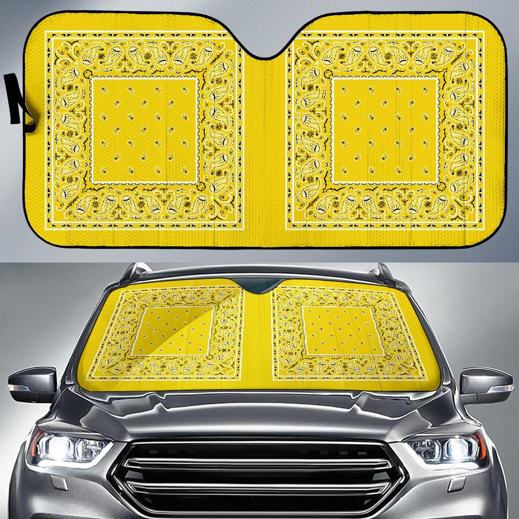 yellow bandanas hot rod window shade