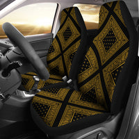 Black Gold Bandana Car Seat Covers - Diamond