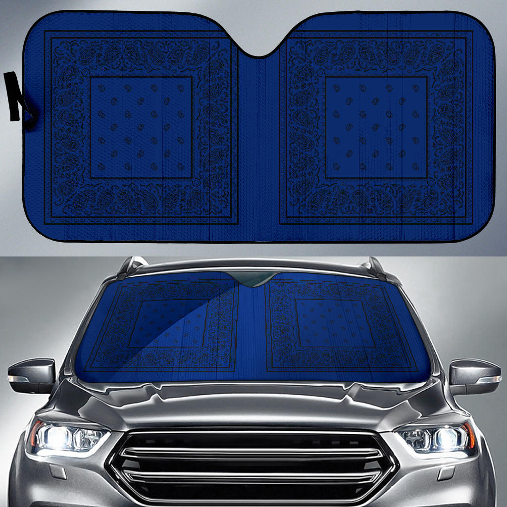blue and black bandana car shades