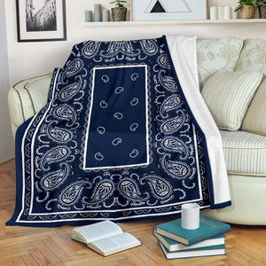 Royal Blue Bandana Throw Blanket