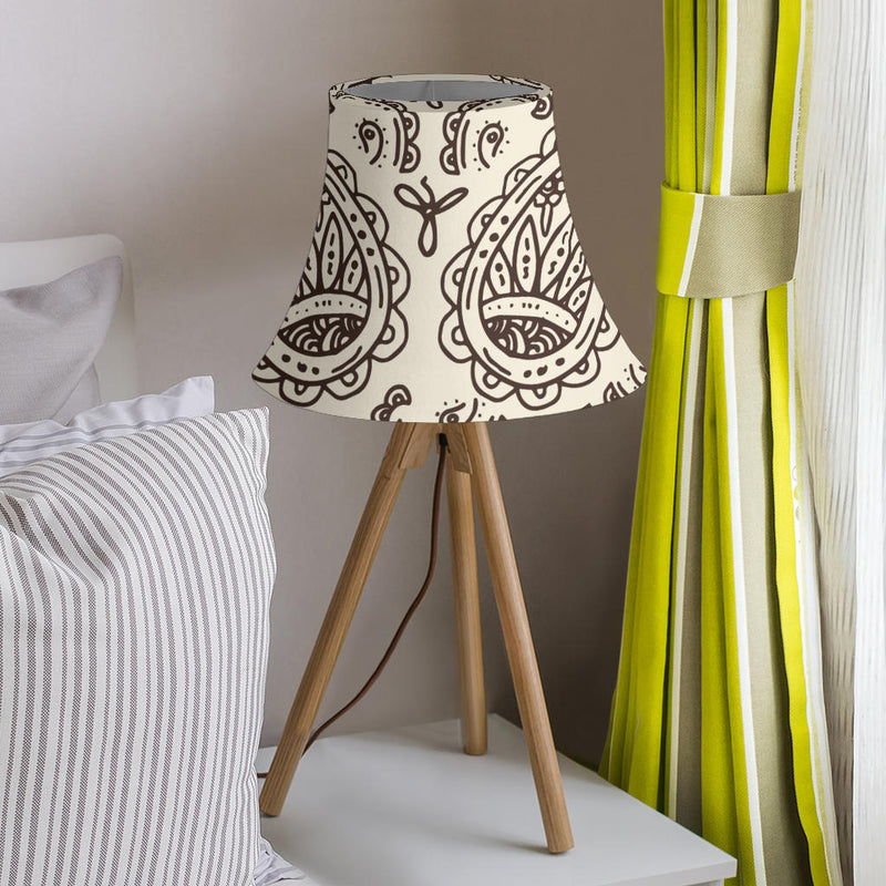 Cream and Brown Paisley Bell Lampshade