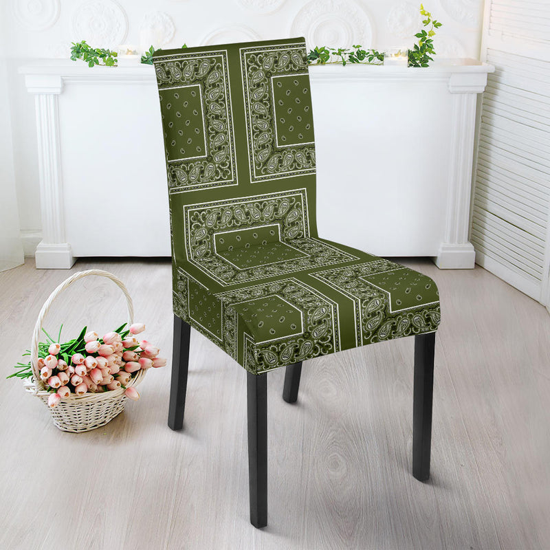 Army Green Bandana Dining Chair Cover