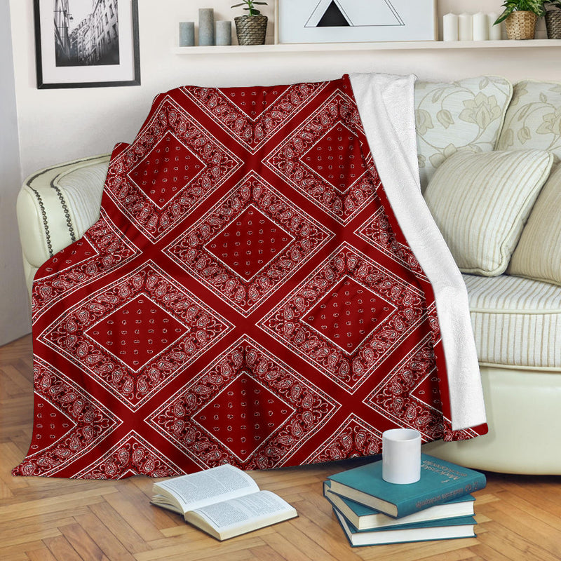 Maroon Bandana Diamond Throw Blanket