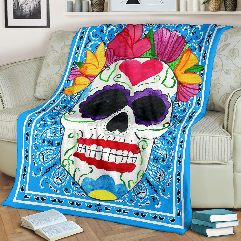 blue bandana blanket with sugar skull