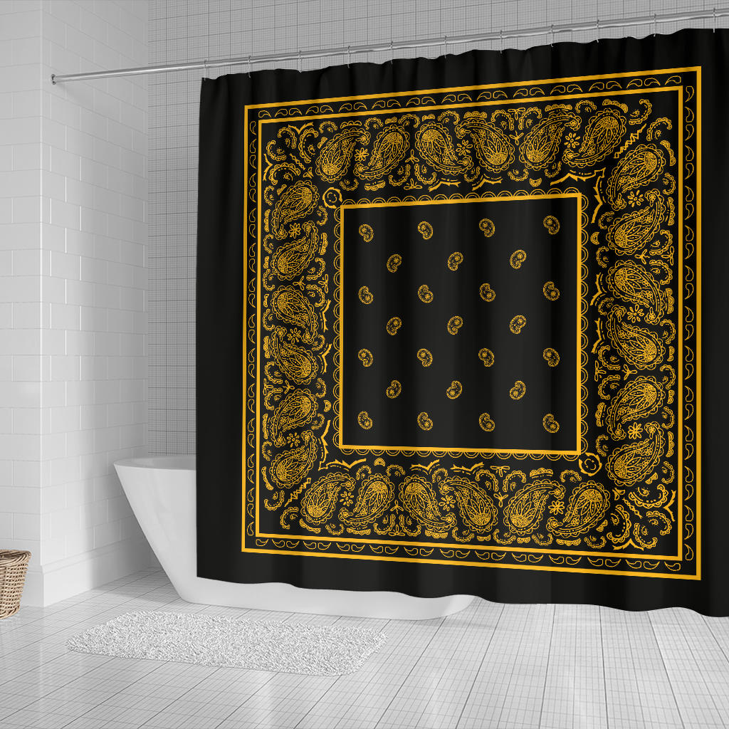Black Gold Bandana Shower Curtains