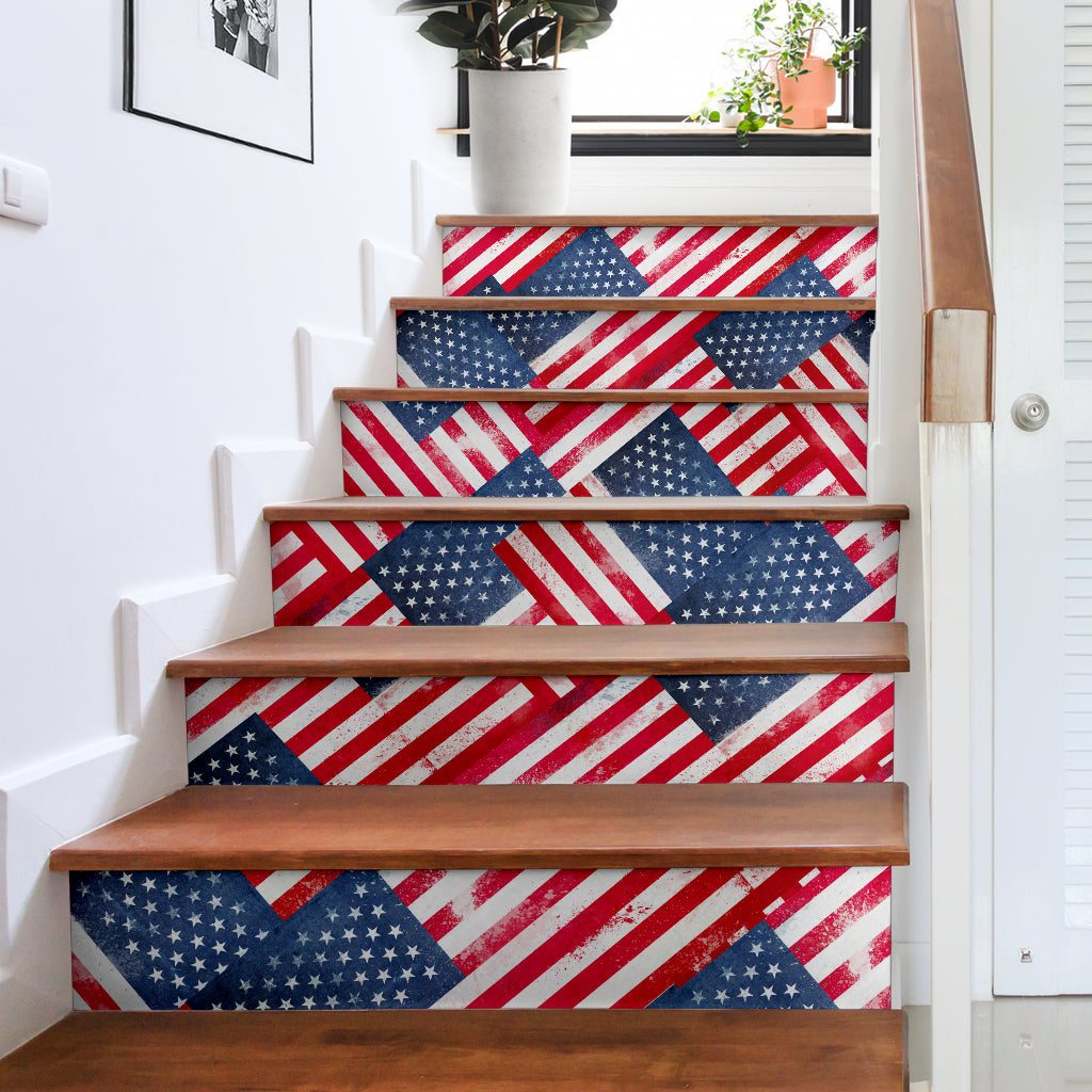 american flag stair stickers