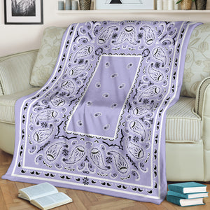Lavender Bandana Fleece Throw Blanket