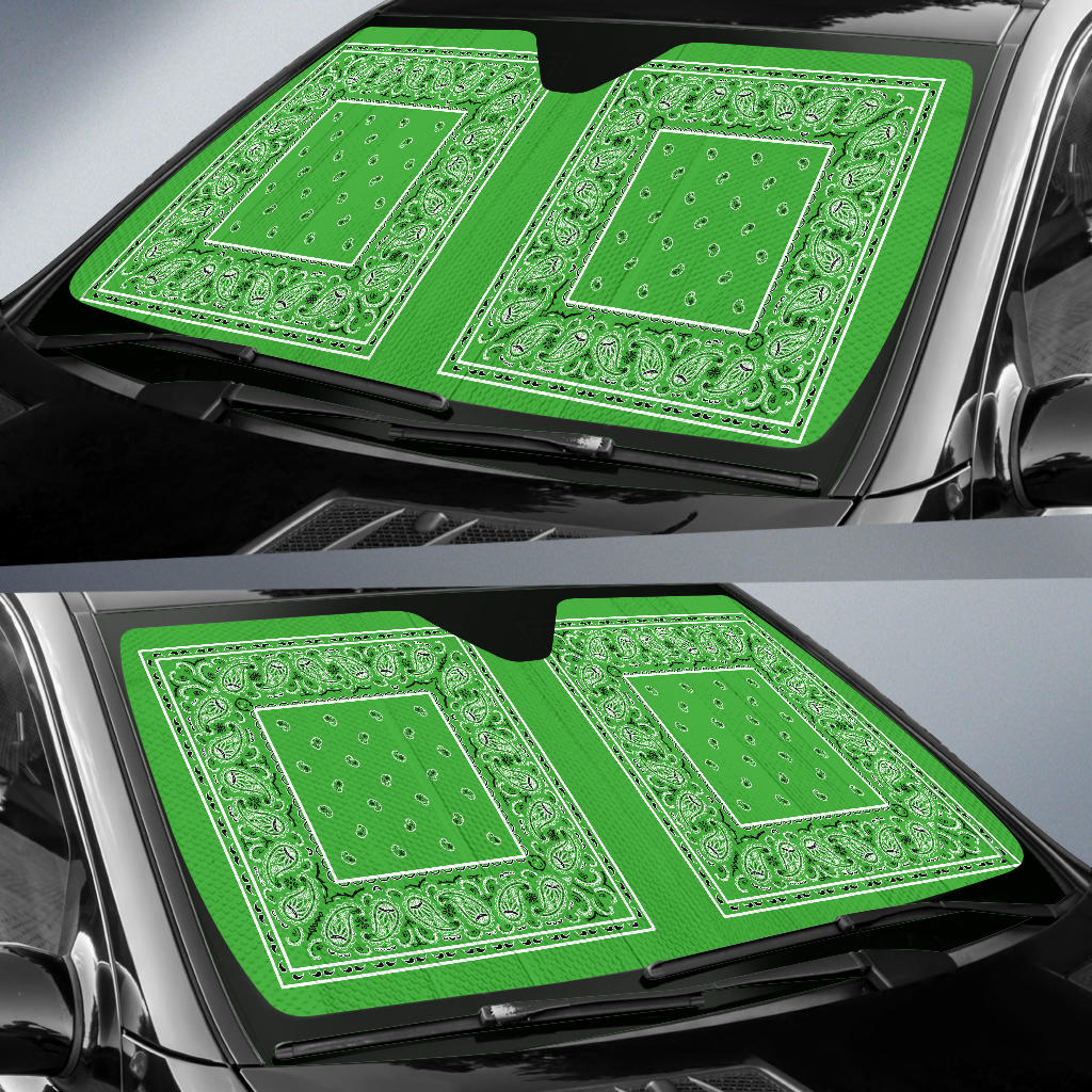 Lime Green Bandana Car Window Shade