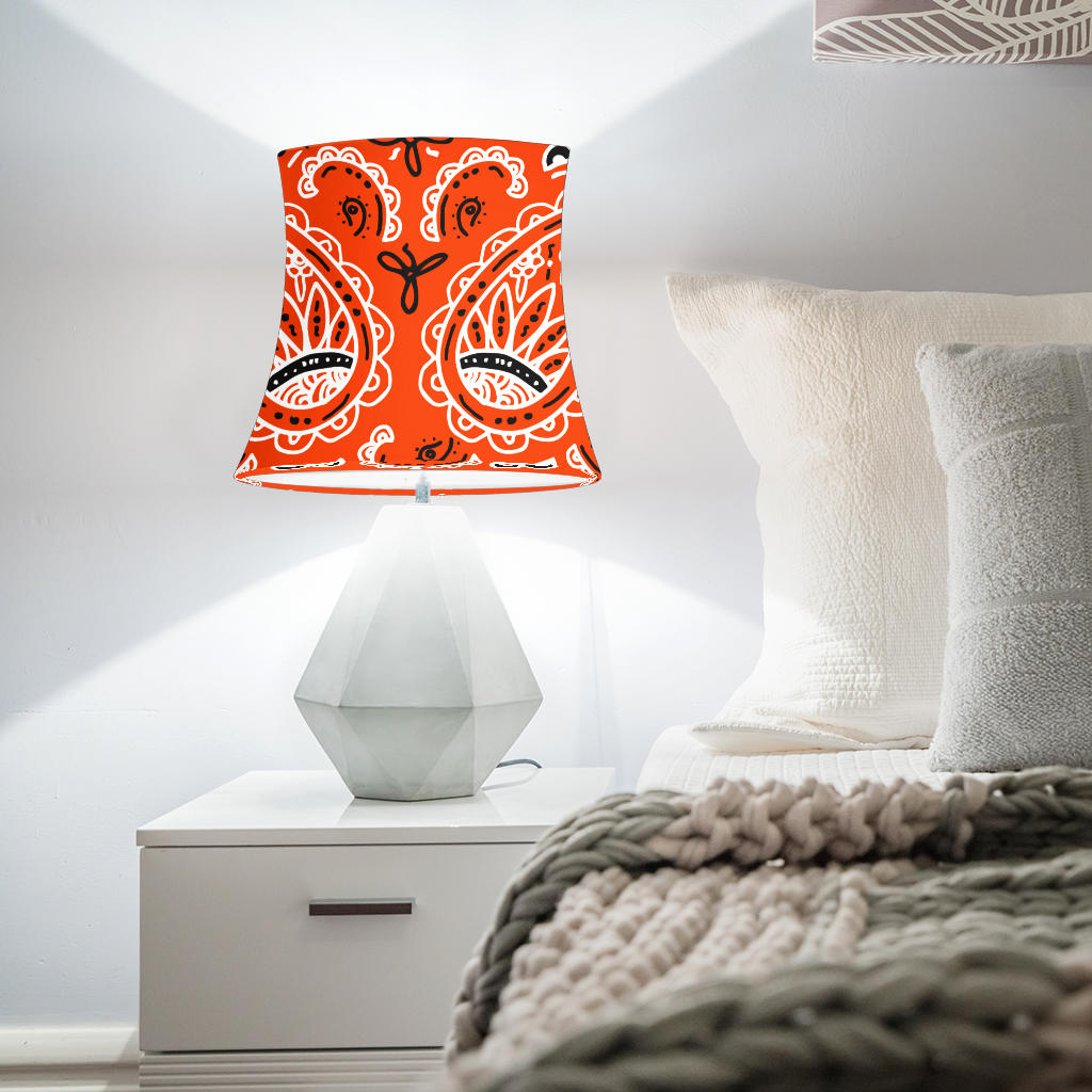Orange Paisley Drum Lampshades