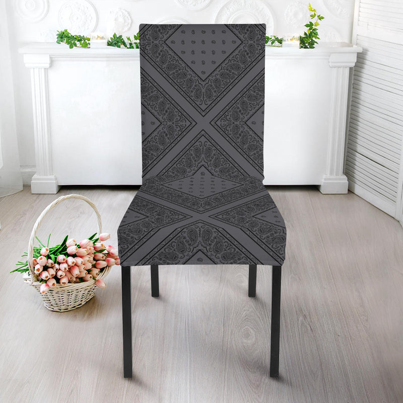 Gray and Black Kitchen Chair Cover
