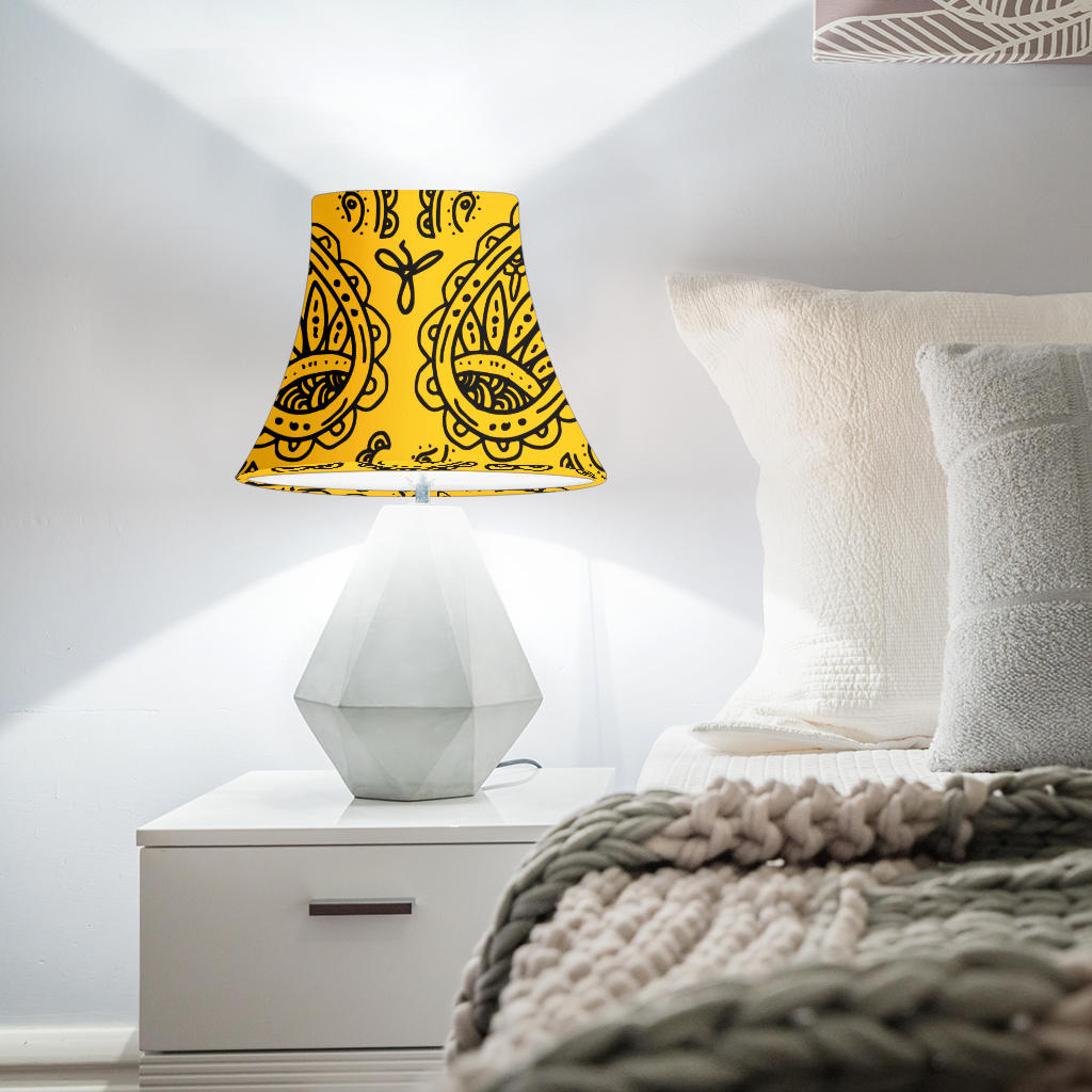 Gold and Black Paisley Bell Lampshade
