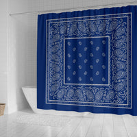 Blue and Gray Bandana Shower Curtains
