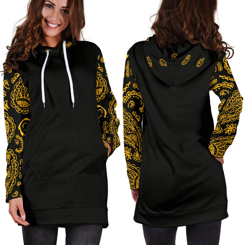 Full view of Black Gold Bandana Hoodie Dress