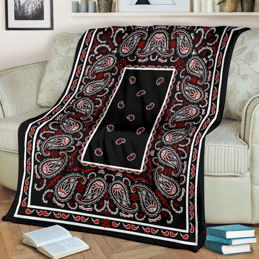 Black and Red Bandana Fleece Throw Blanket