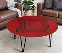 Red and Black Round Birch Wood Coffee Tables