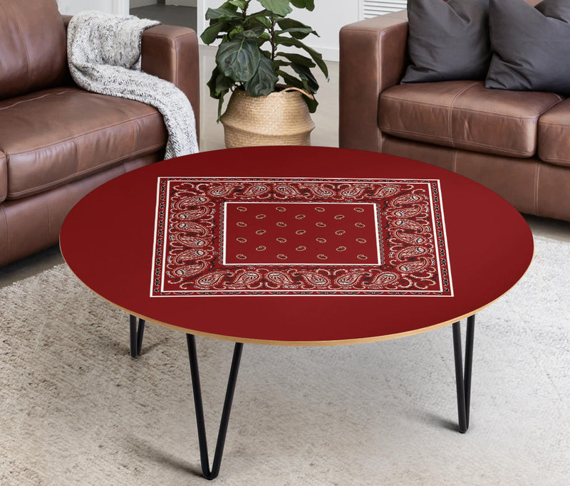 Maroon Bandana Round End Table