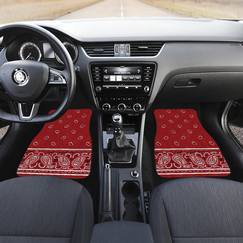 red bandana auto gear floor mats
