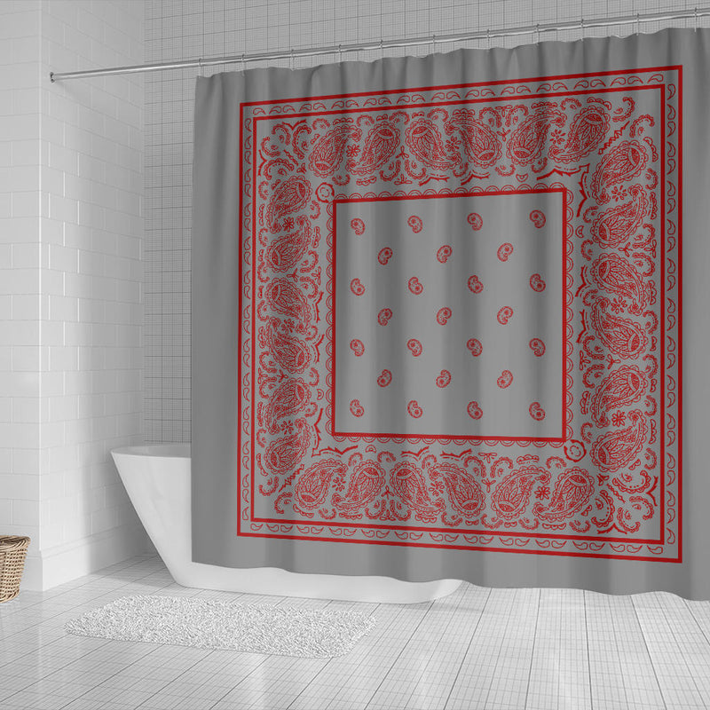 Gray and Red Bandana Shower Curtains