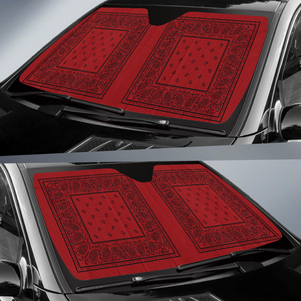 Red and Black Bandana Car Window Shade