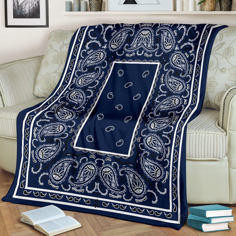 Royal Blue Bandana Fleece Throw Blanket