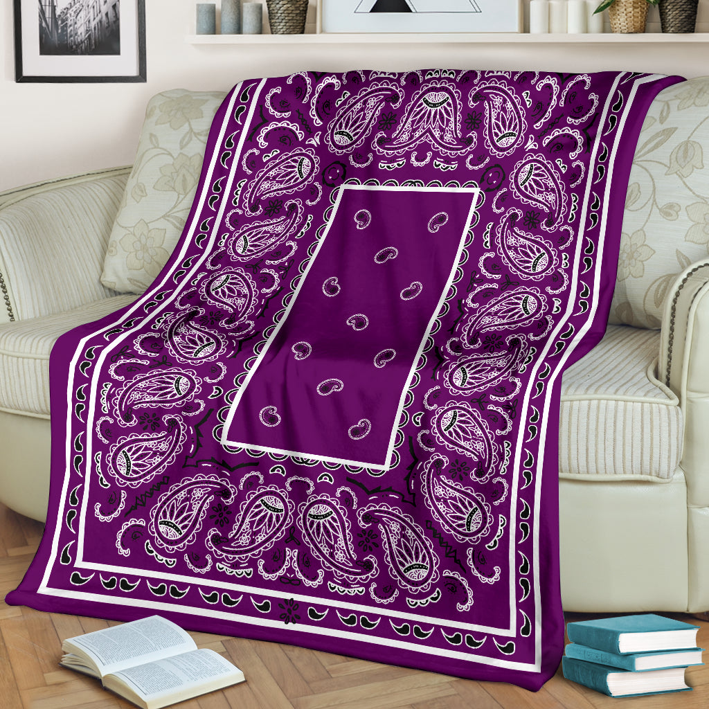 Purple Bandana Throw Blanket