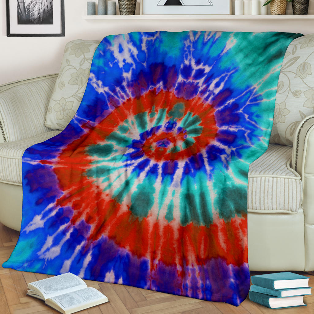 Blue Spiral Tie Dye Fleece Throws