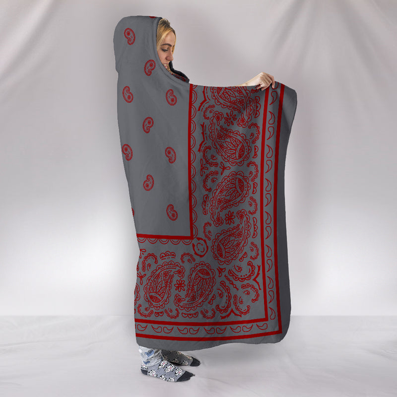 Gray and Red Bandana Hooded Blanket Side