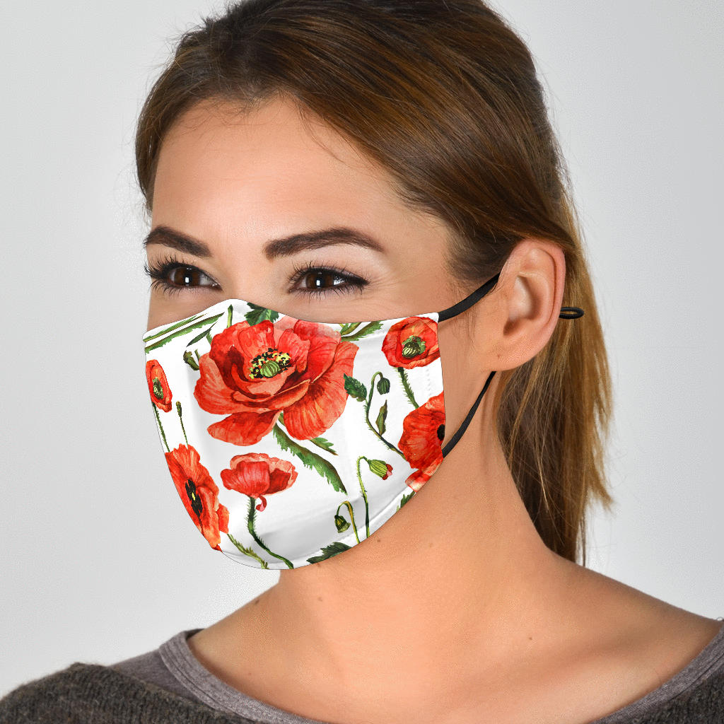 Adjustable Orange Poppies Mouth Face Mask with 5 Layer Filters